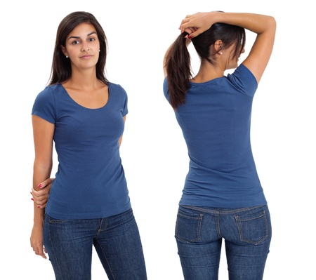 Young beautiful brunette female with blank blue shirt, front and back. Ready for your design or artwork. photo