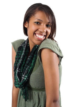 Portrait of beautiful African American woman smiling isolated over white background. photo