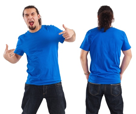 Photo of a male in his early thirties pointing at his blank blue shirt. Front and back views ready for your artwork or designs.