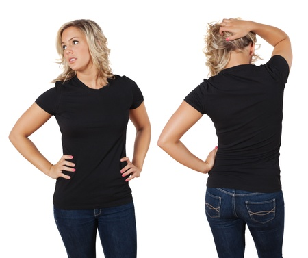 Young beautiful blond female with blank black shirt, front and back. Ready for your design or artwork. photo