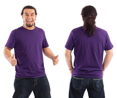 blank shirt: Young male with blank purple t-shirt, front and back. Ready for your design or artwork. Stock Photo