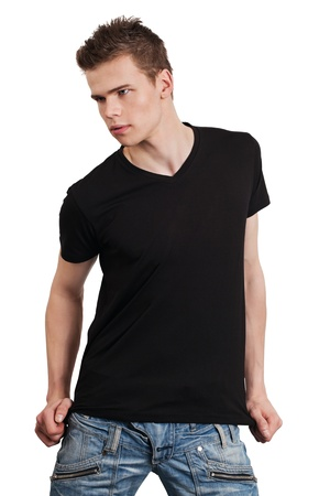 male: Young male with blank black shirt. Ready for your design or artwork. Stock Photo