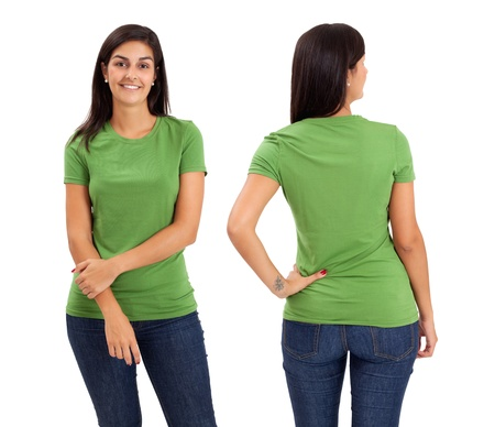 Young beautiful female with blank green shirt, front and back. Ready for your design or logo. Stock Photo