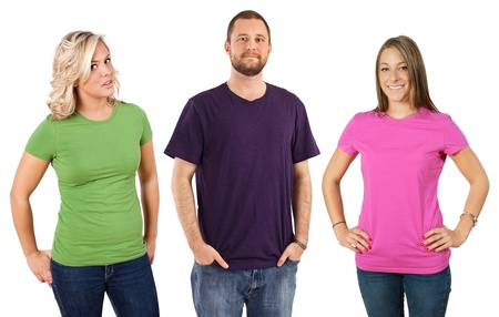Photo of three young adults wearing different coloured blank t-shirts. Ready for your design or artwork. photo