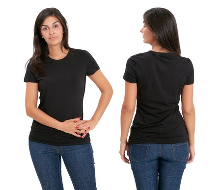 Young beautiful female with blank black shirt, front and back. Ready for your design or artwork. photo