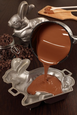 melted chocolate: Photo of melted milk chocolate being poured into a aluminum mold of a bunny for an Easter treat.