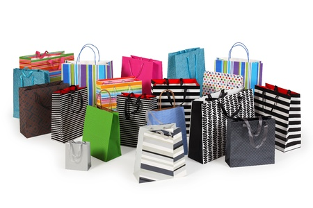 gift bag: Photo of a large group of colourful shopping bags