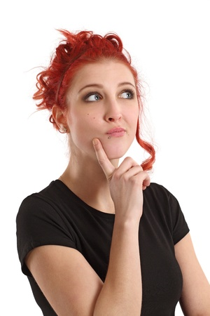 Photo of a beautiful redhead thinking about something. Stock Photo - 12343187