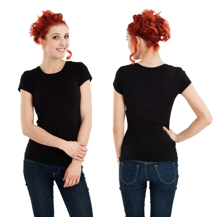 Young beautiful redhead female with blank black shirt, front and back. Ready for your design or artwork. photo