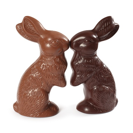 Photo of two chocolate Easter bunnies kissing, one milk chocolate and one dark chocolate.