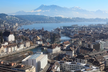 swiss culture: Photo of the cityscape of Lucerne, Switzerland.  Photo taken in the winter.