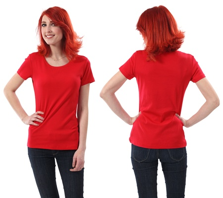 red shirt: Young beautiful redhead female with blank red shirt, front and back. Ready for your design or artwork. Stock Photo