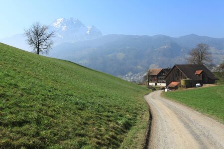Photo of a road leading towards a farm in the Canton of Lucerne, Switzerland with the Pilatus mountain in the distance. Stock Photo - 13108974