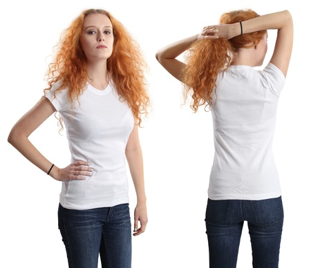Young beautiful redhead female with blank white shirt, front and back. Ready for your design or artwork. photo