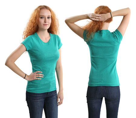 Young beautiful redhead female with blank green shirt, front and back. Ready for your design or artwork. photo