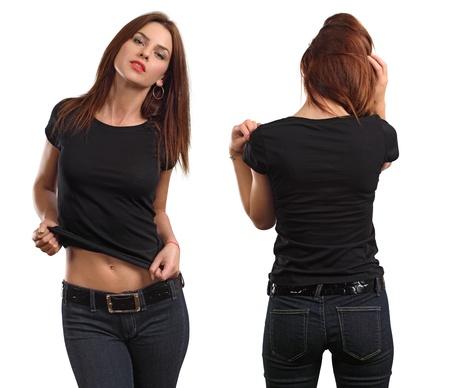 modelos negras: Joven mujer hermosa morena con la camiseta negro en blanco, delante y detrás. Listo para su diseño o arte.