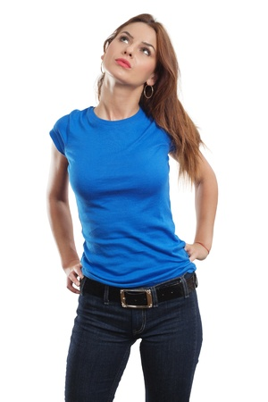 top: Young beautiful brunette female with blank blue shirt. R