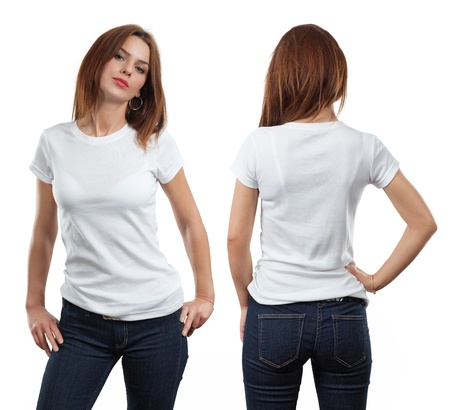 top model: Young beautiful brunette female with blank white shirt, front and back.