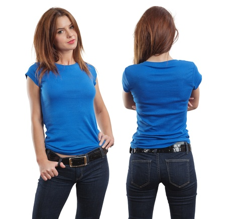 top model: Young beautiful brunette female with blank blue shirt, front and back.