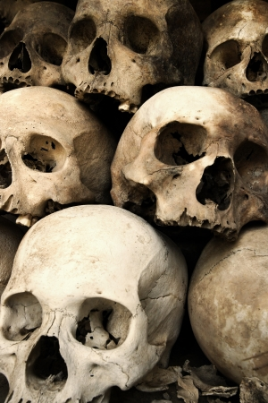 Photo of a pile of skulls from the Killing Fields in Phnom Penh, Cambodia.
