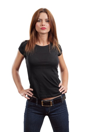 blank shirt: Young beautiful brunette female with blank black shirt. Ready for your design or artwork.