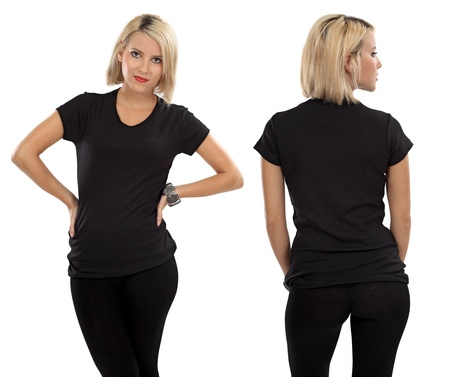Young beautiful blond female with blank black shirt, front and back. Ready for your design or artwork. Imagens