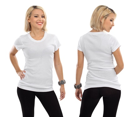 Young beautiful blond female with blank white shirt, front and back. Ready for your design or artwork. photo