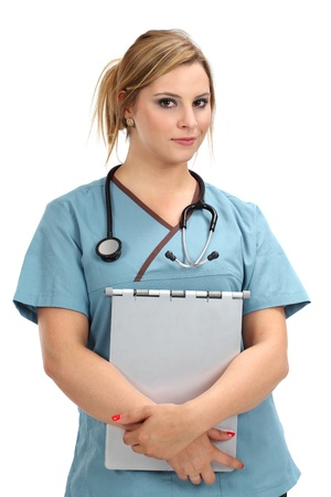 A beautiful young female nurse or doctor smiling and carrying a medical file. photo