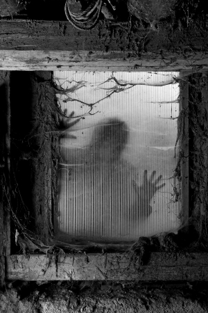 Photo of a zombie outside a window that is covered with spiderwebs and filth. photo