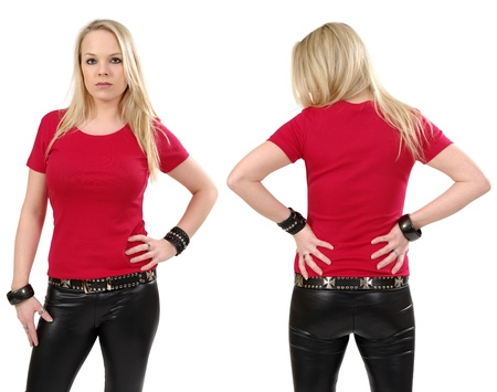 Young beautiful blond female posing with a blank red t-shirt, front and back view. Ready for your design or artwork. Фото со стока