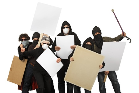 a group of angry protesters wearing masks and holdings signs over a white background.