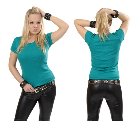 top: Young beautiful blond female posing with a blank jade t-shirt, front and back view. Ready for your design or artwork.
