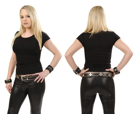 Young beautiful blond female posing with a blank black t-shirt, front and back view. Ready for your design or artwork. photo