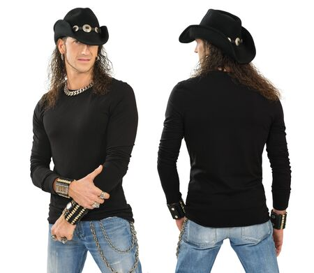 long sleeve:  a male with blank black long sleeve shirt, front and back. Ready for your design or artwork.