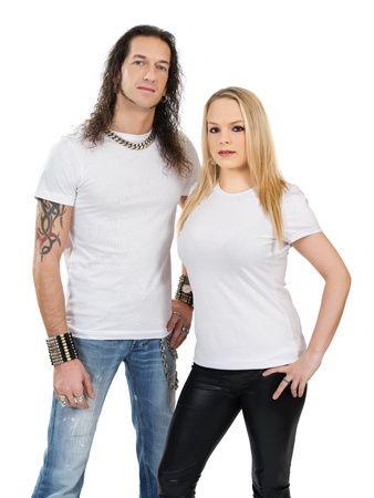 Photo of a man and woman posing with blank white shirts. A custom shirt design can be shown on both sexes shirts. photo