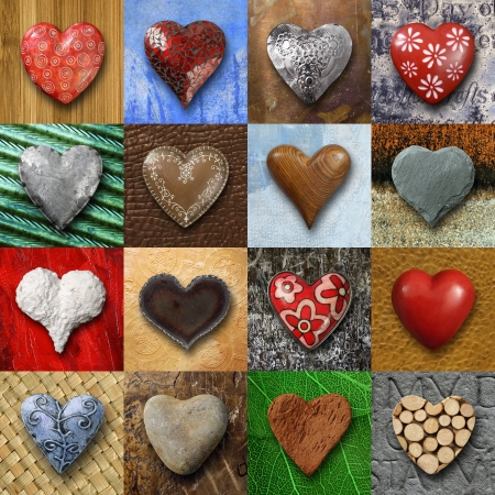 Photos of heart-shaped things made of stone, metal and wood on different backgrounds.