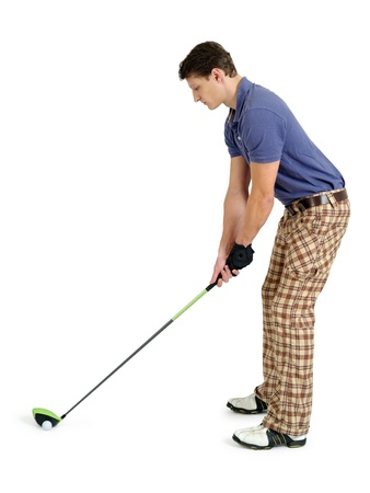 Photo of a male golfer in his late twenties about to swing his driver.