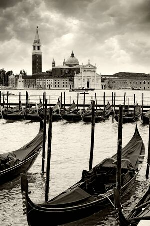 Photo of gondolas in Venice, Italy. photo