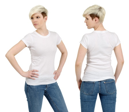 Young beautiful blond female with blank white shirt, front and back. Ready for your design or artwork.