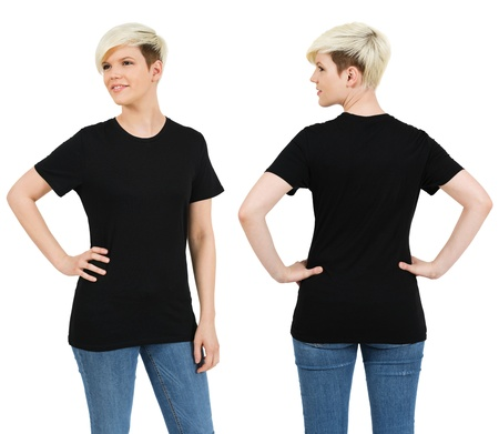 short back: Young beautiful blond female with blank black shirt, front and back. Ready for your design or artwork. Stock Photo