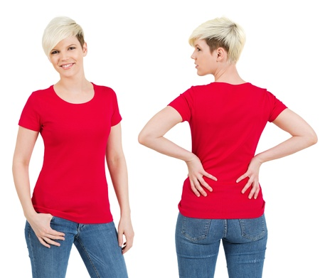 Young beautiful blond female with blank red shirt, front and back. Ready for your design or artwork.