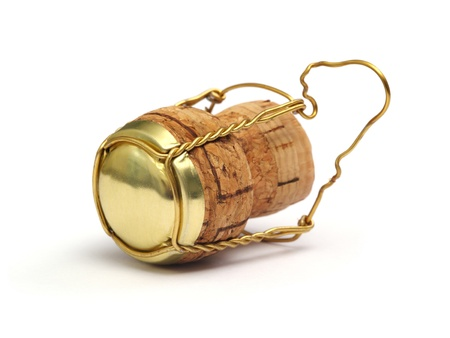 sparking: champagne or sparking wine cork. Concept object for a celebration event.