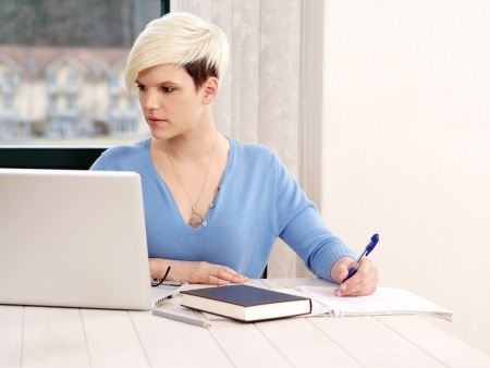 a successful young businesswoman with laptop computer in office. Stock Photo - 19063664