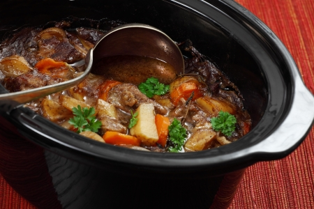 Photo of Irish Stew or Guinness Stew made in a crockpot or slow cooker. Stock Photo