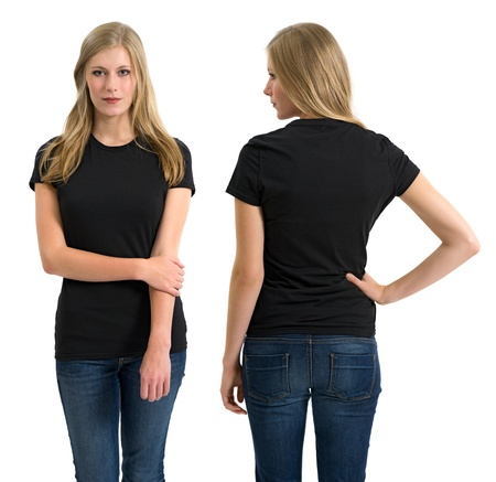 Photo of a teenage female with long blond hair posing with a blank black shirt.  Front and back views ready for your artwork or designs.