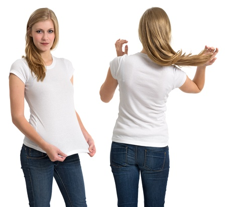 Photo of a teenage female with long blond hair posing with a blank white shirt.  Front and back views ready for your artwork or designs.