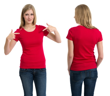 front of: Photo of a teenage female with long blond hair posing with a blank red shirt.  Front and back views ready for your artwork or designs. Stock Photo