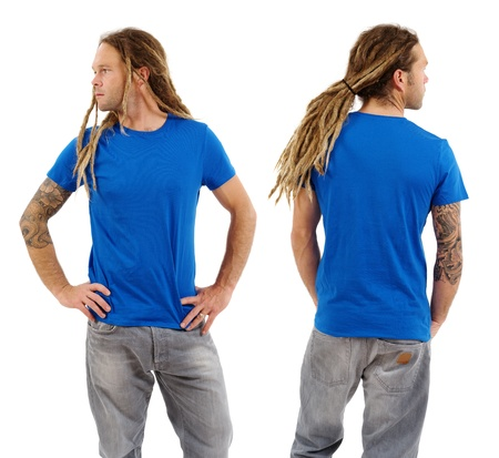 blank empty: Photo of a male in his early thirties with long dreadlocks and posing with a blank blue shirt.  Front and back views ready for your artwork or designs.