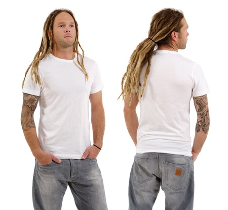 Photo of a male in his early thirties with long dreadlocks and posing with a blank white shirt.  Front and back views ready for your artwork or designs. photo