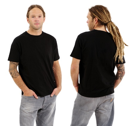 Photo of a male in his early thirties with long dreadlocks and posing with a blank black shirt.  Front and back views ready for your artwork or designs.  photo